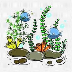Kartun Ikan Laut Dalam Rumput Air Bahan Gratis Gambar