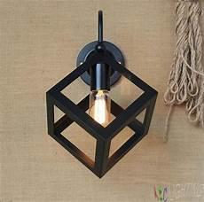 vintage black metal small iron box wall l edison light bulb fixture birdcage wall lights loft