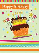Vector Set Of Happy Birthday Cake Card Material 02 Free