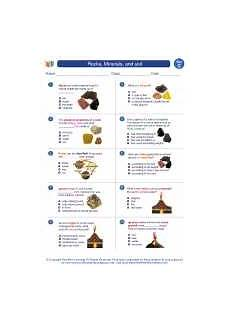 rocks minerals and soil 3rd grade science worksheets and answer study guides and