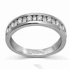 and baguette diamond wedding band in white gold