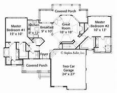 house plans with dual master suites dual master suites one story home plan yahoo image