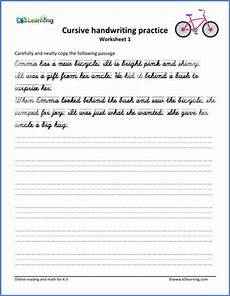 cursive handwriting worksheet handwriting passages 3rd grade writing cursive handwriting