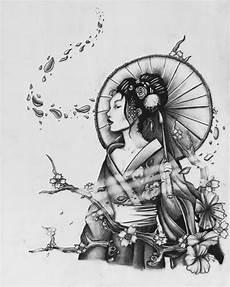 geisha in fall by fah kit on deviantart