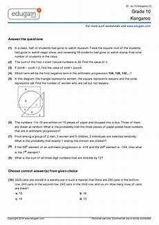 grade 10 kangaroo printable worksheets online practice online tests and problems edugain canada