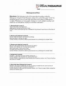 romeo and juliet pun worksheet shakespearean puns worksheet for 8th 12th grade lesson