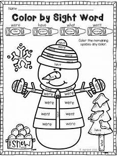 winter worksheets for second grade 19925 snowman color by sight word sight words kindergarten sight word reading sight word coloring