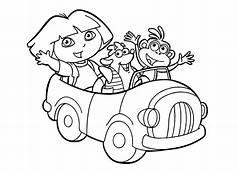 Dora In Car Coloring Pages For Kids Printable Free