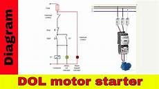 how to wire a contactor direct on line motor starter diagram youtube
