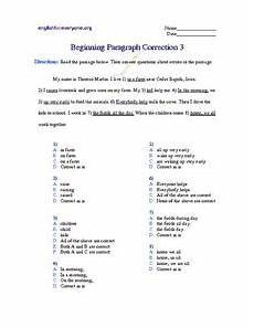 beginning paragraph correction 3 worksheet for 3rd 5th grade lesson planet