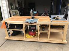 i built a mobile workbench table saw workbench