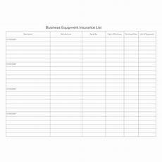equipment insurance list form