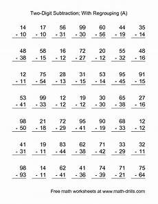 simple subtraction with regrouping worksheets 10710 subtraction worksheet two digit subtraction with some regrouping 49 questions a school