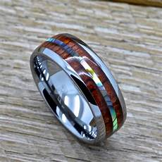 mens tungsten ring with abalone and genuine koa inlay 8mm comfort fit wedding band