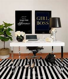 black and white office inspiration boss gold foil print and white desk with black l