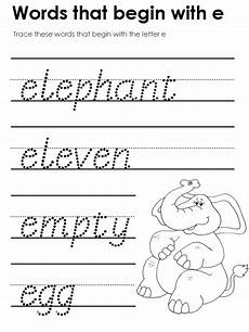 letter e worksheets kidzone 23086 modern manuscript tracers beginning consonant sounds
