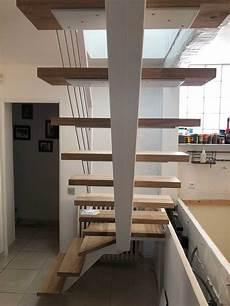 Escalier Quart Tournant Sur Mesure Cr 233 Ation Escalier Design Acier Acier Bois Sur Mesure
