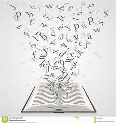 libro lettere d book with flying letters stock vector illustration of