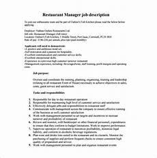 Kitchen Manager Description Pdf by 14 Restaurant Manager Description Templates Word