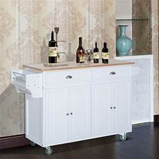 Kitchen Island Cart With Cabinets by Homcom 36 Deluxe Modern Drop Leaf Kitchen Island Rolling