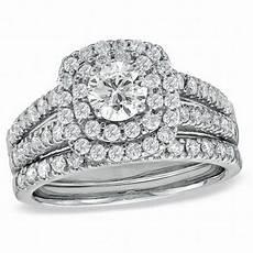 1 1 2 ct t w diamond double frame bridal in 14k