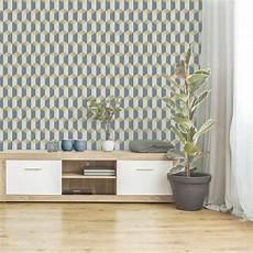 papier peint vinyle papier peint vinyle celia graphique bleu jaune beige