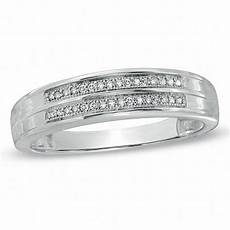 men s 1 10 ct t w diamond double row wedding band in 10k white gold wedding bands wedding