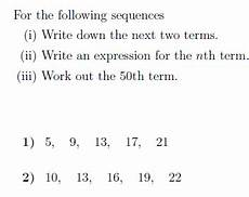 the nth term of a sequence worksheet with solutions payhip