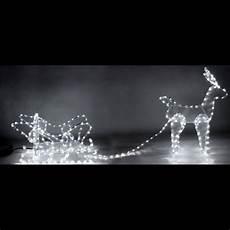 grand traineau pere noel lumineux deco exterieure renne lumineux avec traineau 336 led blanches renne