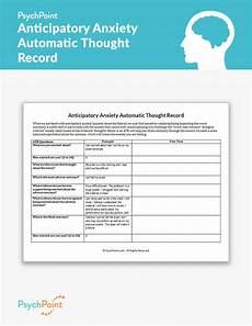 anticipatory anxiety automatic thought record worksheet