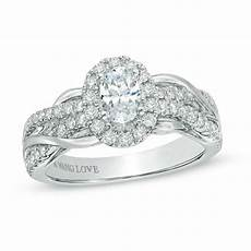 vera wang love collection 1 ct t w oval diamond braid engagement ring in 14k white gold