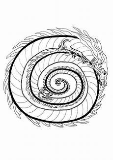 Ausmalbilder Drachen Mandala Mandalas Feuerdrache Mandala Drachen Mandalas