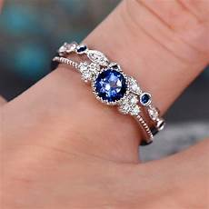 cute blue green bridal ring fashion 925 silver finger wedding ring promise love
