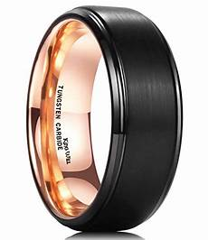 king will 8mm tungsten carbide ring dome inner plated black inlaid with comfort fit