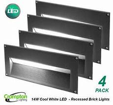 4 14w led recessed wall brick lights charcoal grey 240v cool white ip54 ebay