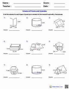 prisms and cylinders volume worksheets math aids com pinterest cylinder volume worksheets