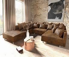 couch braun couch clovis braun antik optik mit hocker wohnlandschaft
