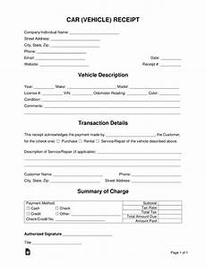 free car vehicle receipt template pdf word eforms