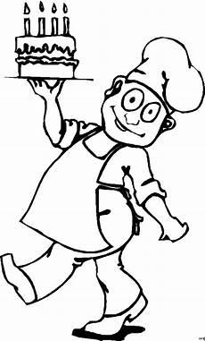 konditor mit torte ausmalbild malvorlage comics