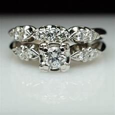 vintage art deco diamond bridal set engagement ring matching