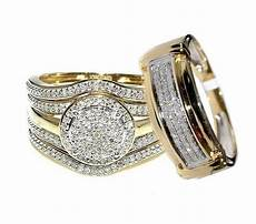 his and bridal trio rings 4 piece 10k yellow gold 0 68ct diamonds 19mm w ebay