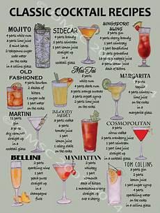 classic cocktail recipes metal sign mancave retro bar