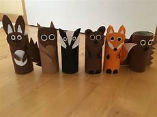 Tiere Selber Basteln - waldtiere klopapierrollen kindergarten materialien