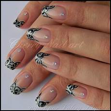 black scroll on french tips cherry nail art nail art