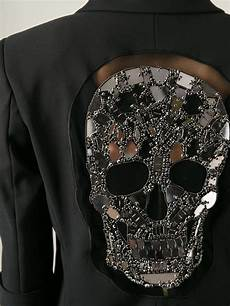 philipp plein sparkling skull blazer in black lyst