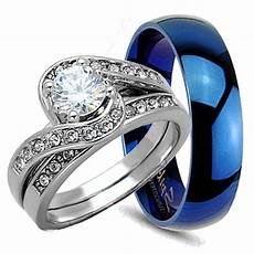 his hers 3pc womens sterling silver mens blue tungsten wedding ring bridal ebay