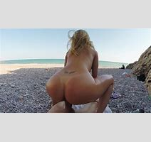 Blonde Is Having A Relaxing Naked Day At The Beach By The