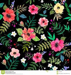 Flower Illustration Wallpaper by Seamless Floral Background Flowers And Leafs Draw