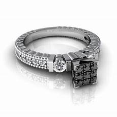 cheap real diamond wedding rings with black and white diamonds