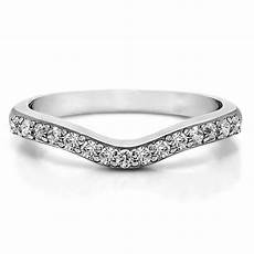 shop 14k gold delicate curved wedding ring mounted with white sapphire 0 25 cts twt sale